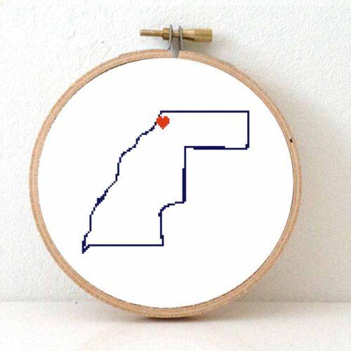 Western Sahara map cross stitch pattern