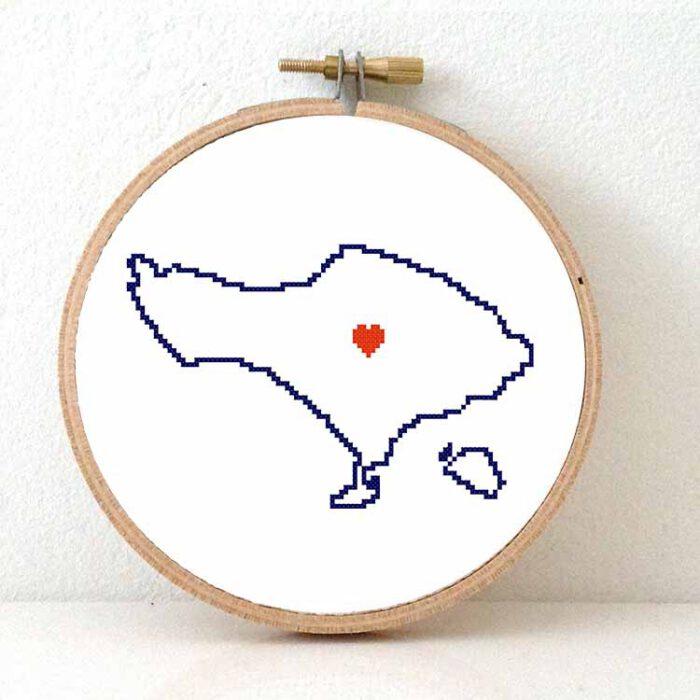 Bali map cross stitch pattern