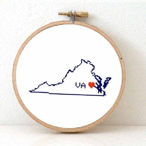 cross stitch a usa state - virginia map cross stitch pattern