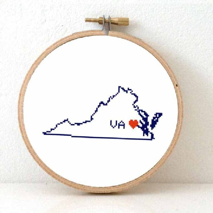 cross stitch a usa state - virginia map cross stitch pattern