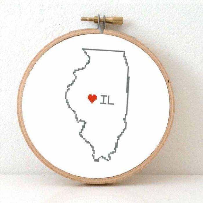 cross stitch a usa state - illinois map cross stitch pattern