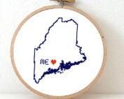 Maine map cross stitch pattern