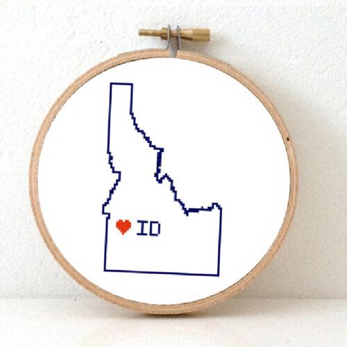 Delaware map cross stitch pattern