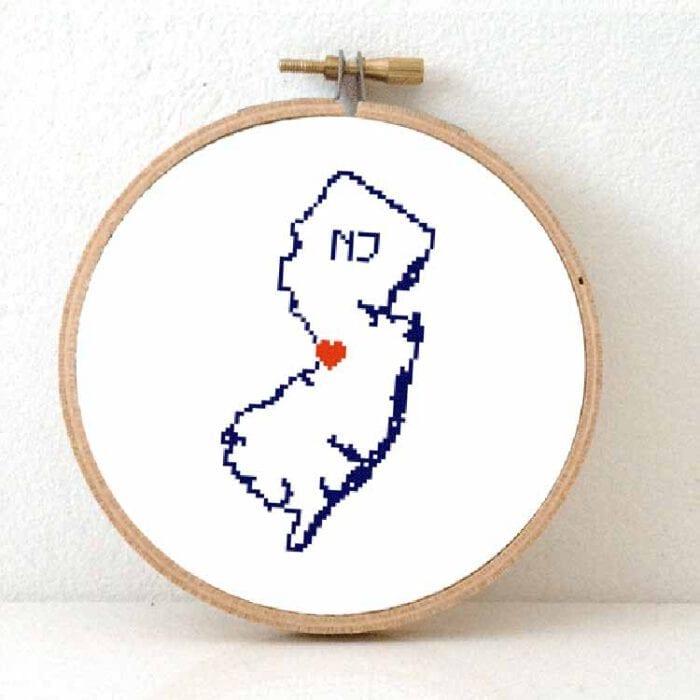 cross stitch a usa state - New Jersey map cross stitch pattern