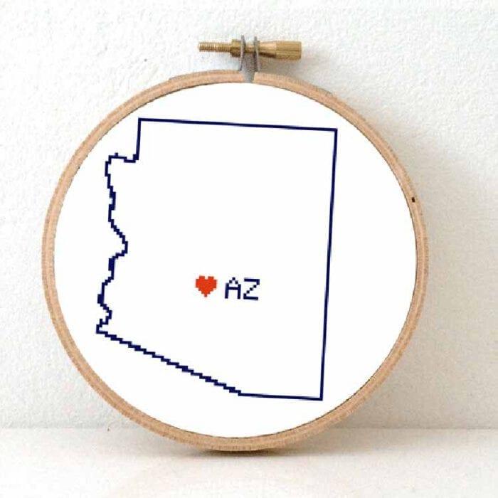 cross stitch a usa state - Arizona map cross stitch pattern