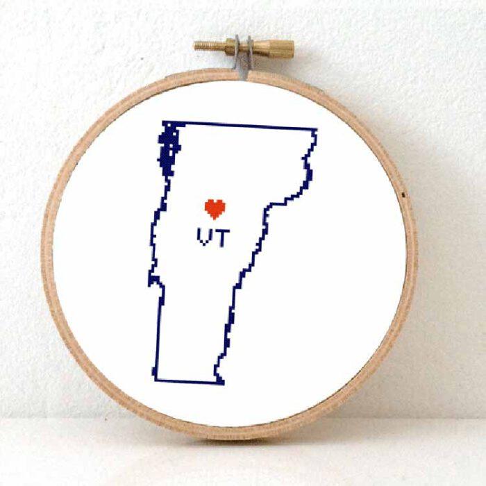 Vermont map cross stitch pattern