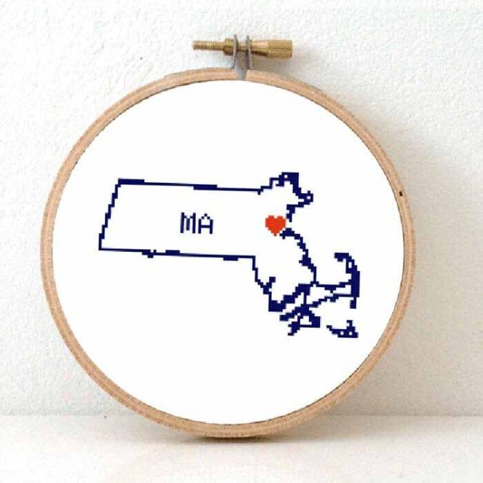 stitchamap massachusetts state map cross stitch pattern