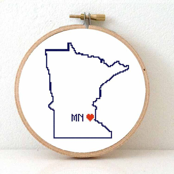 Stitchamap - minnesota cross stitch pattern