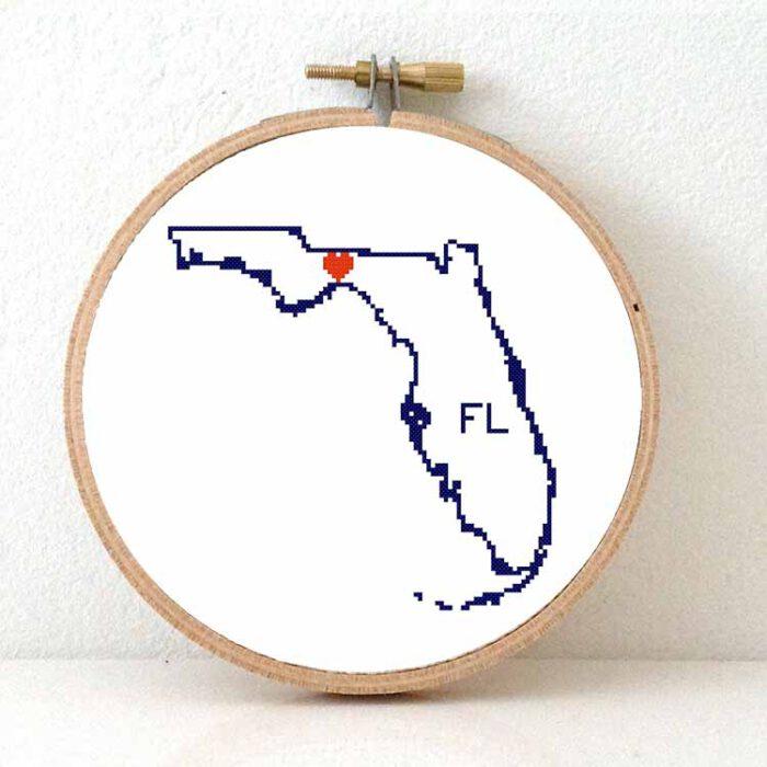 Stitchamap - Florida map cross stitch pattern