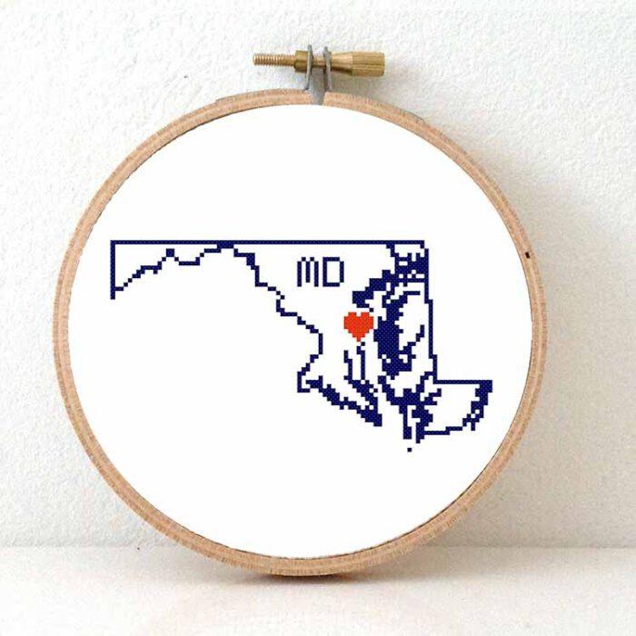 Stitchamap - Maryland cross stitch pattern for beginners