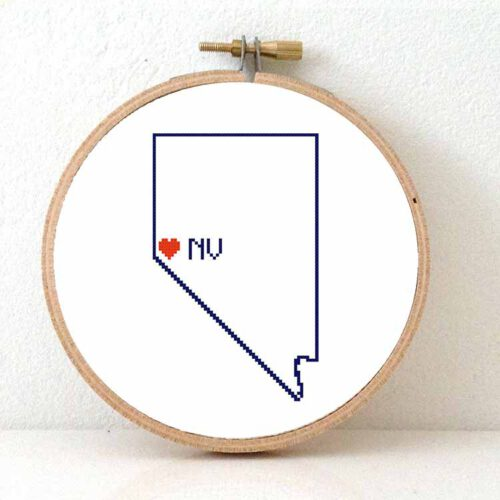Stitchamap - nevada map cross stitch pattern