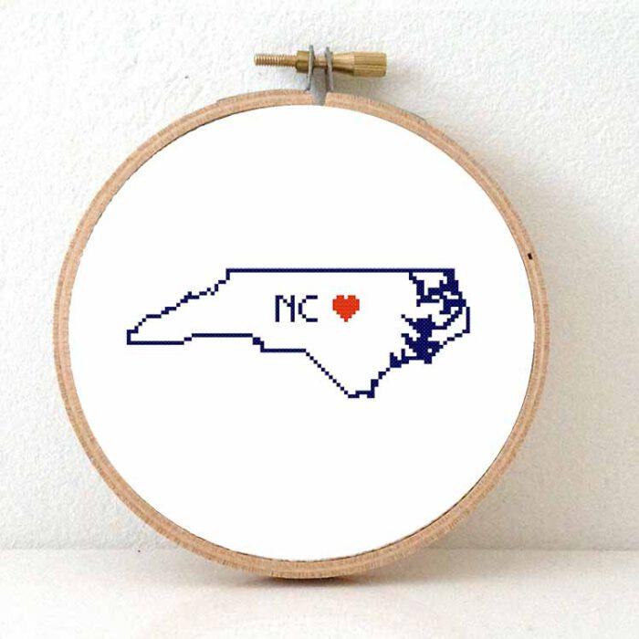 Stitchamap - USA - North Carolina map cross stitch pattern