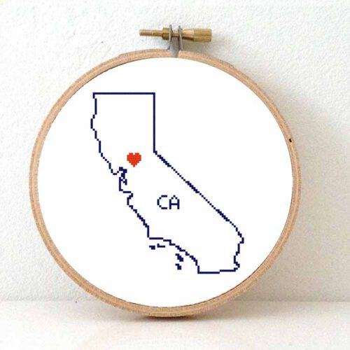 Stitchamap - California map cross stitch pattern