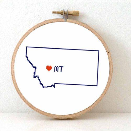 Stitchamap - Montana map cross stitch pattern
