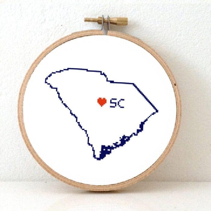 cross stitch a usa state - south carolina map cross stitch pattern