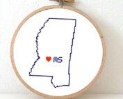 Sitchamap - Mississippi map cross stitch pattern