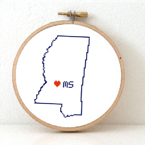 Sitchamap - Mississippi map cross stitch pattern