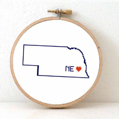 Stitchamap Nebraska map cross stitch pattern