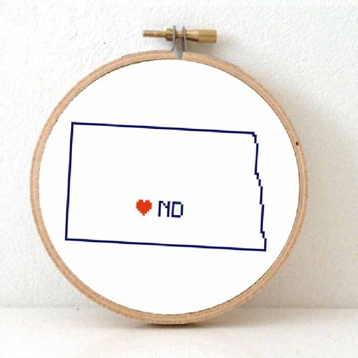 Stitchamap - North Dakota map cross stitch pattern