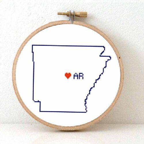 Stitchamap Arkansas map cross stitch pattern