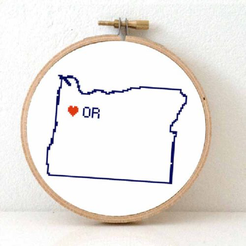 Stitchamap - usa - oregon map cross stitch pattern