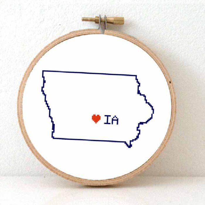 Iowa map cross stitch pattern