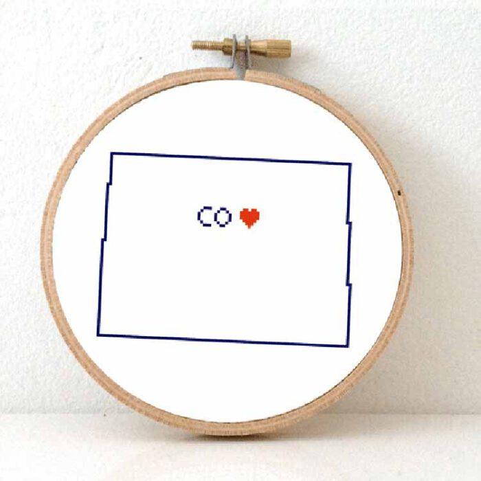Stitchamap - Colorado map cross stitch pattern