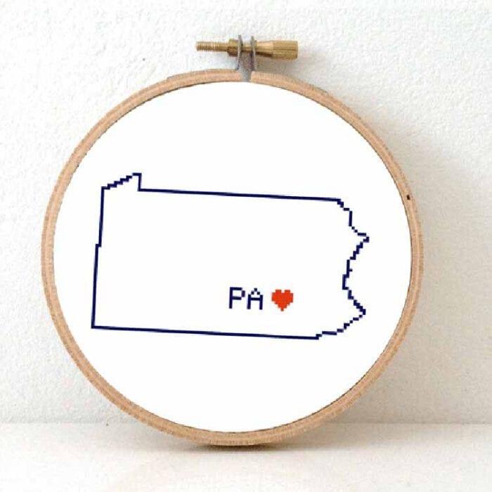 Stitchamap - USA - Pennsylvania map cross sticth pattern