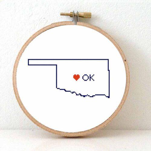 Stitchamap Oklahoma map cross stitch pattern