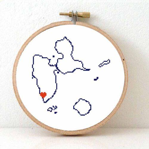 Guadeloupe map cross stitch pattern