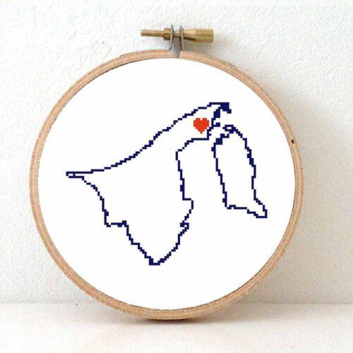 Brunei map cross stitch pattern