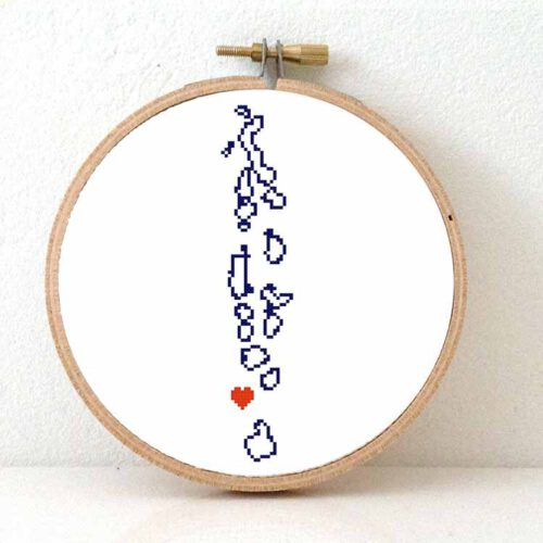 Maldives map cross stitch pattern
