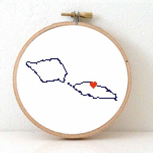 Samoa map cross stitch pattern