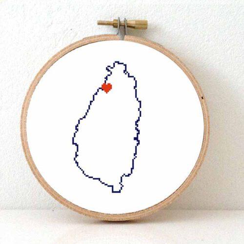 Saint Lucia map cross stitch pattern