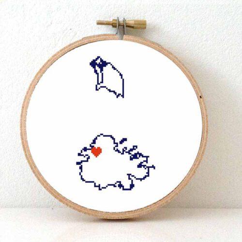 Antiqua and Barbuda map cross stitch pattern