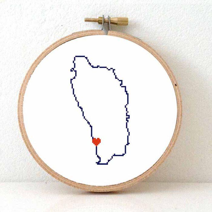 Dominica map cross stitch pattern