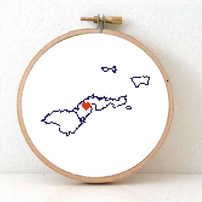 American Samoa map cross stitch pattern