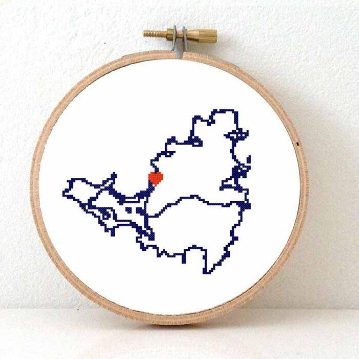 Saint Martin map cross stitch pattern