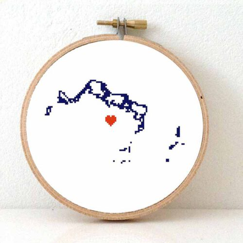 Turks and Caicos map cross stitch pattern