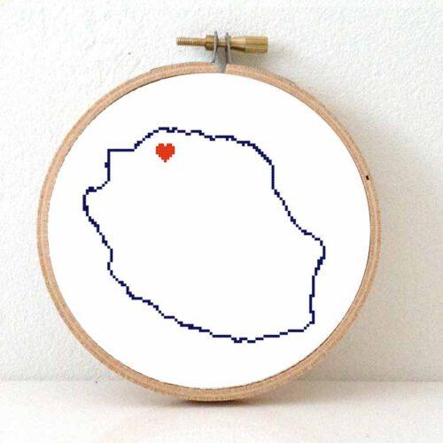 Reunion map cross stitch pattern