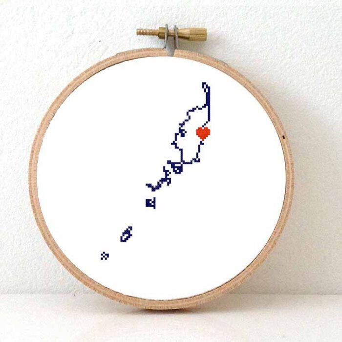 Palau map cross stitch pattern