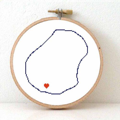 Nauru map cross stitch pattern