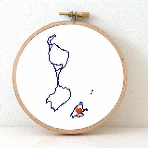 Saint Pierre and Miquelon map cross stitch pattern