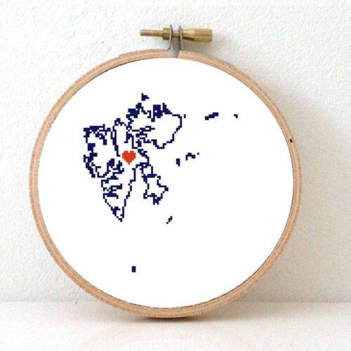 Svalbard and Jan Mayen map cross stitch pattern