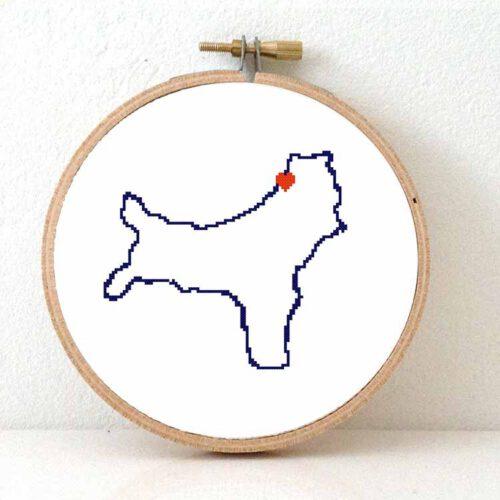 Christmas island map cross stitch pattern