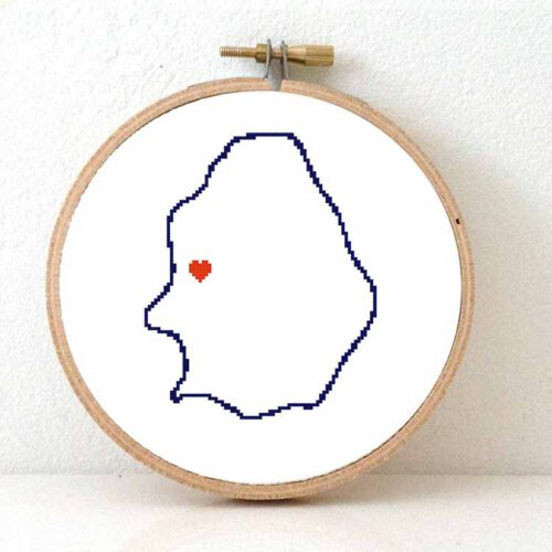 Niue map cross stitch pattern