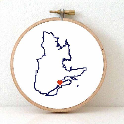 canada Quebec map cross stitch pattern