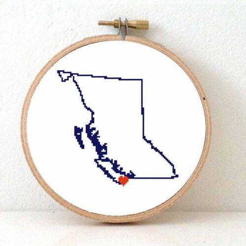 canada British Columbia map cross stitch pattern