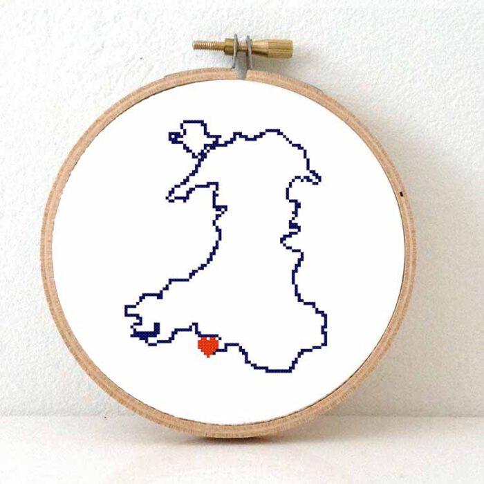Wales map cross stitch pattern