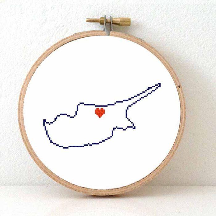 Cyprus map cross stitch pattern